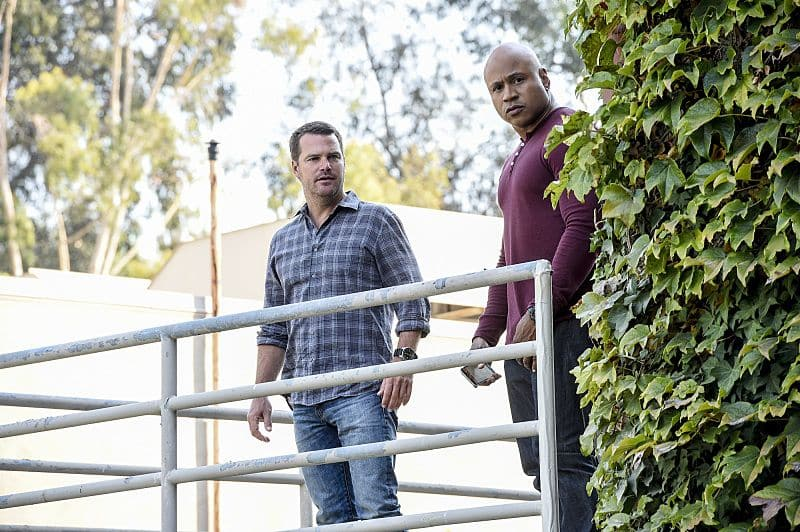 """""""Black Market"""" -- Pictured: Chris O'Donnell (Special Agent G. Callen) and LL COOL J (Special Agent Sam Hanna). After a Homeland Security agent is poisoned by a notorious Triad assassin, NCIS uncovers a warehouse of counterfeit purses and a money trail to stolen government funds. Also, Nell joins the team in the field, on NCIS: LOS ANGELES, Sunday, Oct. 16 (8:00-9:00 PM, ET/PT), on the CBS Television Network. Photo: Ron P. Jaffe/CBS ©2016 CBS Broadcasting, Inc. All Rights Reserved."""