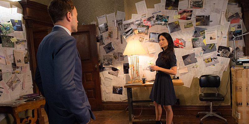 """""""Folie a Deux"""" -- When a serial bomber becomes active again after being dormant for six years, Watson seeks help from Shinwell Johnson (Nelsan Ellis), a former patient whose life she saved when she was a surgeon. Also, Holmes senses Watson is unhappy and questions whether she is still fulfilled by her detective career, on the fifth season premiere of ELEMENTARY, Sunday, Oct. 2 (10:00-11:00, ET/PT), on the CBS Television Network.  Pictured (l-r) Jonny Lee Miller as Sherlock Holmes and Lucy Liu as Joan Watson  Photo: JEFF NEIRA /CBS ©2016 CBS Broadcasting, Inc. All Rights Reserved"""
