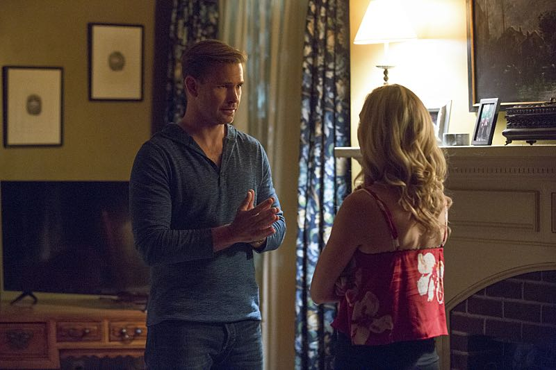 "The Vampire Diaries -- ""Hello Brother"" --Image Number: VD801a_0146.jpg -- Pictured (L-R): Matt Davis as Alaric and Candice King as Caroline -- Photo: Bob Mahoney/The CW -- © 2016 The CW Network, LLC. All rights reserved."