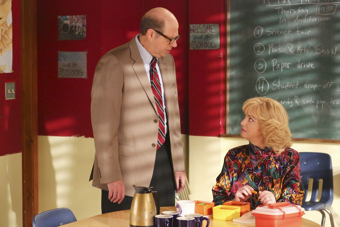 "THE GOLDBERGS - ""Breakfast Club"" - Adam works on his new persona for the first day of high school that he hopes will up his coolness level. Meanwhile, Beverly gets her teaching certification to become a substitute teacher. But when she is demoted to sub-janitor, she sends the Goldberg kids to a Saturday detention, but it is Principal Ball who must oversee the kids. Later, Murray arrives and takes over where he gives an important lesson, on the season premiere ""The Goldbergs,"" WEDNESDAY, SEPTEMBER 21 (8:00-8:30 p.m. EDT), on the ABC Television Network. (ABC/Michael Ansell) STEPHEN TOBOLOWSKY, WENDI MCLENDON-COVEY"