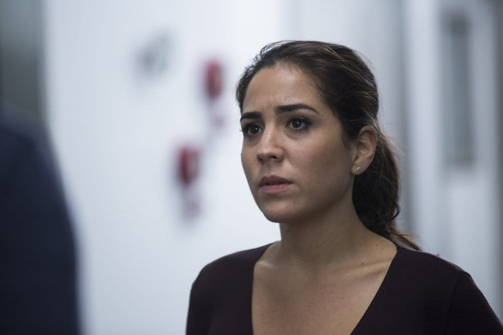 """BLINDSPOT -- """"Do Not Slack, the Featherweight Wins"""" Episode 208 -- Pictured: Audrey Esparza as Tasha Zapata -- (Photo by: Eric Liebowitz/Warner Bros/NBC)"""