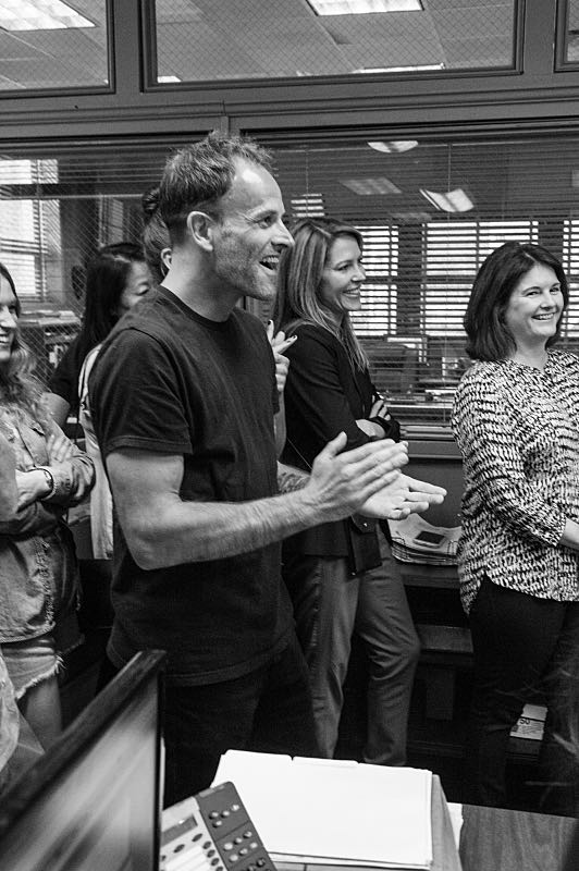 """""""Henny Penny The Sky Is Falling"""" -- The cast of ELEMENTARY celebrates their milestone 100th episode with a cake-cutting ceremony. Picture Jonny Lee Miller Photo: JEFF NEIRA /CBS ©2016 CBS Broadcasting Inc. All Rights Reserved."""