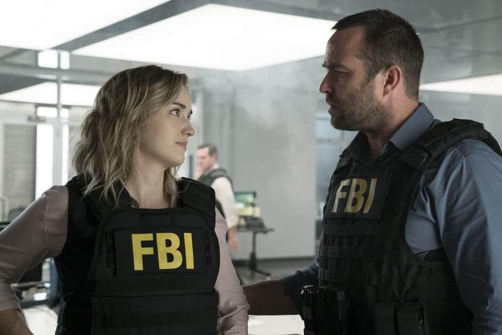 "BLINDSPOT -- ""Resolves Eleven Myths"" Episode 207 -- Pictured: (l-r) Ashley Johnson as Patterson, Sullivan Stapleton as Kurt Weller -- (Photo by: Virginia Sherwood/NBC)"