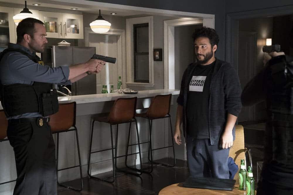 "BLINDSPOT -- ""Resolves Eleven Myths"" Episode 207 -- Pictured: (l-r) Sullivan Stapleton as Kurt Weller, Ennis Esmer as RichDot Com, Jaimie Alexander as Jane Doe -- (Photo by: Virginia Sherwood/NBC)"