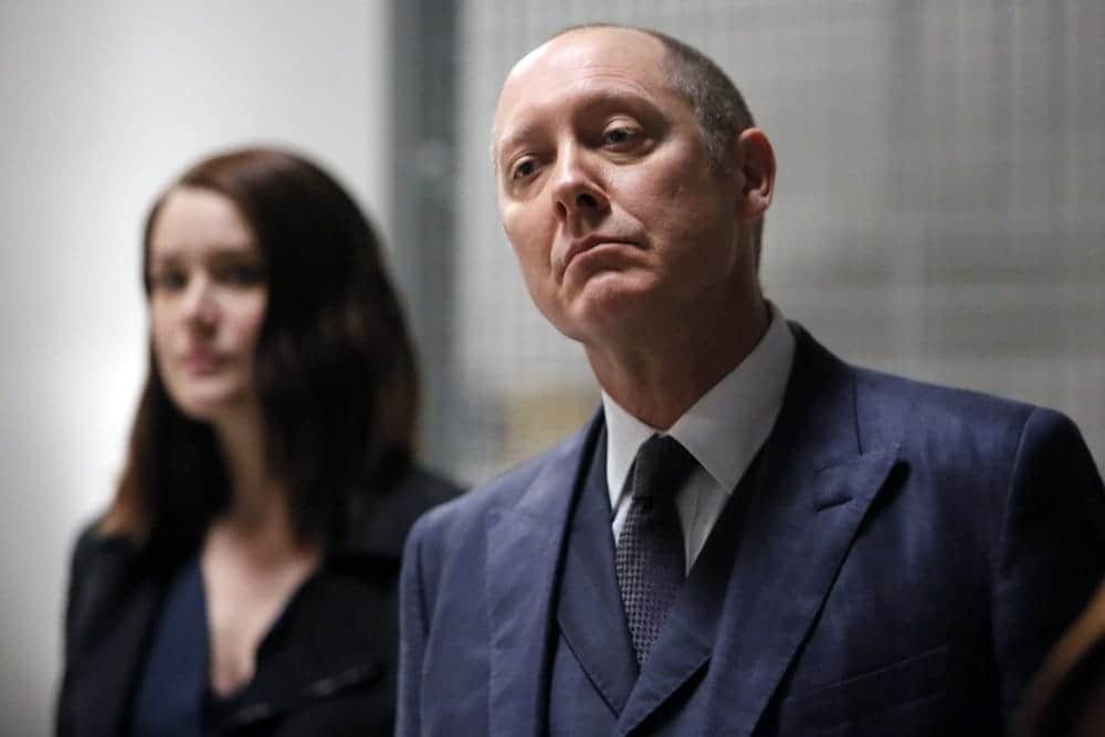 "THE BLACKLIST-- ""The Thrushes: #53"" Episode 406 -- Pictured: (l-r) James Spader as Raymond ""Red"" Reddington, Megan Boone as Elizabeth Keen -- (Photo by: Will Hart/NBC)"