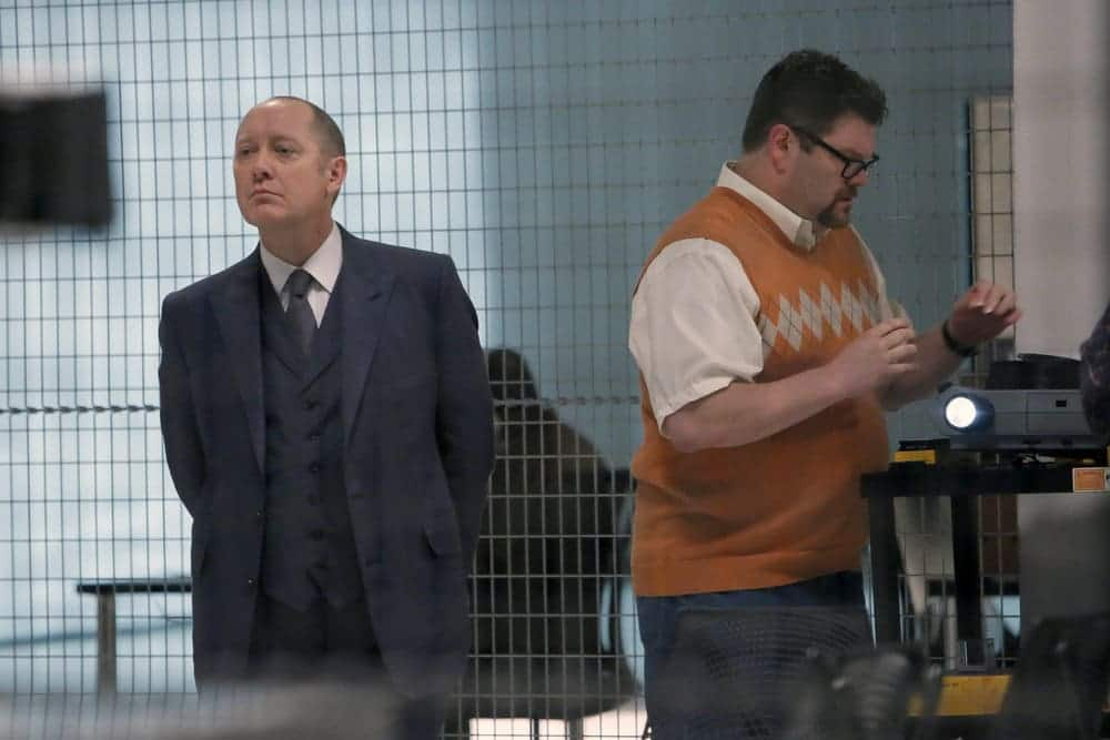 "THE BLACKLIST-- ""The Thrushes: #53"" Episode 406 -- Pictured: (l-r) James Spader as Raymond ""Red"" Reddington, Daniel Stewart Sherman as Chester -- (Photo by: Will Hart/NBC)"