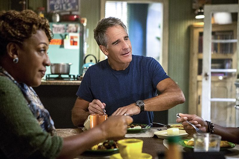 """""""One Good Man"""" -- The NCIS team reviews unorthodox training exercises after a Navy Seal candidate is found murdered weeks before his graduation. Also, a concerned Wade turns to Pride after her adopted son, Danny (Christopher Meyer), announces his plan to enter the Navy, on NCIS: New Orleans, Tuesday, Nov. 1 (10:00-11:00, ET/PT), on the CBS Television Network. Pictured L-R: CCH Pounder as Dr. Loretta Wade and Scott Bakula as Special Agent Dwayne Pride Photo: Skip Bolen/CBS ©2016 CBS Broadcasting, Inc. All Rights Reserved"""
