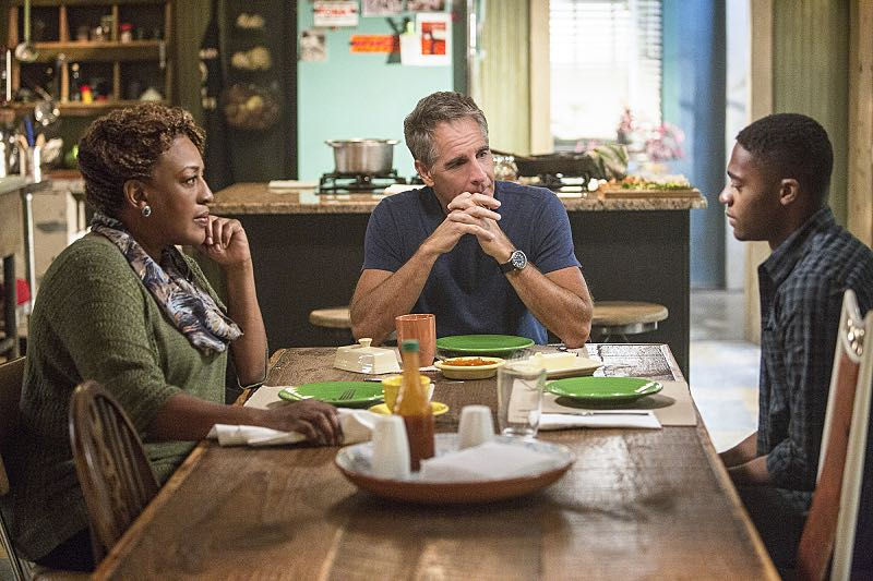 """""""One Good Man"""" -- The NCIS team reviews unorthodox training exercises after a Navy Seal candidate is found murdered weeks before his graduation. Also, a concerned Wade turns to Pride after her adopted son, Danny (Christopher Meyer), announces his plan to enter the Navy, on NCIS: New Orleans, Tuesday, Nov. 1 (10:00-11:00, ET/PT), on the CBS Television Network. Pictured L-R: CCH Pounder as Dr. Loretta Wade, Scott Bakula as Special Agent Dwayne Pride, and Christopher Meyer as Danny Malloy Photo: Skip Bolen/CBS ©2016 CBS Broadcasting, Inc. All Rights Reserved"""