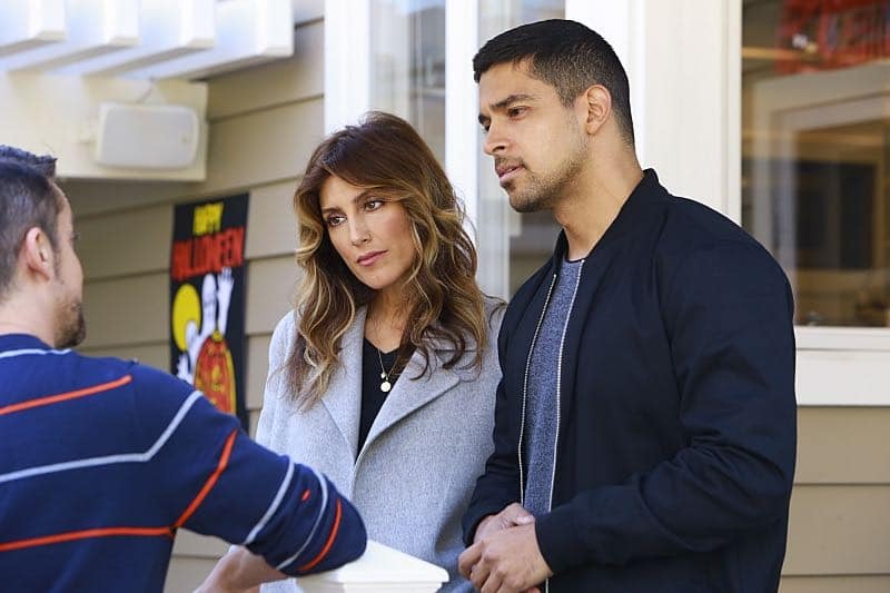 """Shell Game"" -- After a kidnapped petty officer escapes her captor, NCIS uncovers a connection to her missing husband. Also, Abby knits the NCIS newbies personalized gifts, on NCIS, Tuesday, Oct. 25 (8:00-9:00 PM, ET/PT), on the CBS Television Network. Pictured: Jennifer Esposito, Wilmer Valderrama. Photo: Bill Inoshita/CBS ©2016 CBS Broadcasting, Inc. All Rights Reserved"