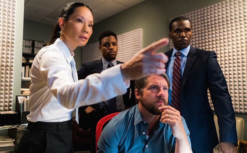 """""""Render, and Then Seize Her"""" -- Holmes learns a secret about Captain Gregson's girlfriend when she hires him for a case she wants kept off of Gregson's radar. Also, Holmes and Watson join the NYPD's search for an abducted woman, on ELEMENTARY, Sunday, Oct. 23 (10:30-11:30 PM, ET/10:00-11:00 PM, PT) on the CBS Television Network. Pictured (L-R) Lucy Liu as Joan Watson and Jon Michael Hill as Detective Marcus Bell, Photo: Michael Parmelee/CBS ©2016 CBS Broadcasting, Inc. All Rights Reserved"""