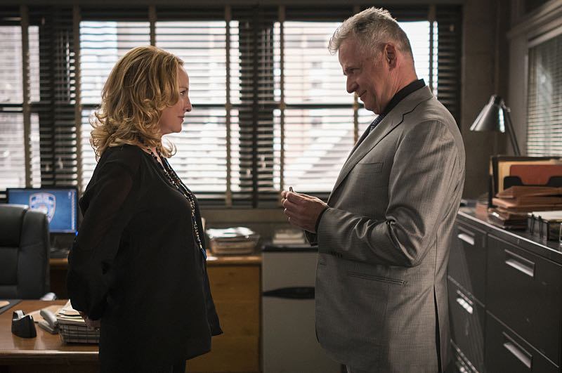 """""""Render, and Then Seize Her"""" -- Holmes learns a secret about Captain Gregson's girlfriend when she hires him for a case she wants kept off of Gregson's radar. Also, Holmes and Watson join the NYPD's search for an abducted woman, on ELEMENTARY, Sunday, Oct. 23 (10:30-11:30 PM, ET/10:00-11:00 PM, PT) on the CBS Television Network. Pictured Aidan Quinn as Captain Tommy Gregson and Virginia Madsen as Paige Photo: Michael Parmelee/CBS ©2016 CBS Broadcasting, Inc. All Rights Reserved"""