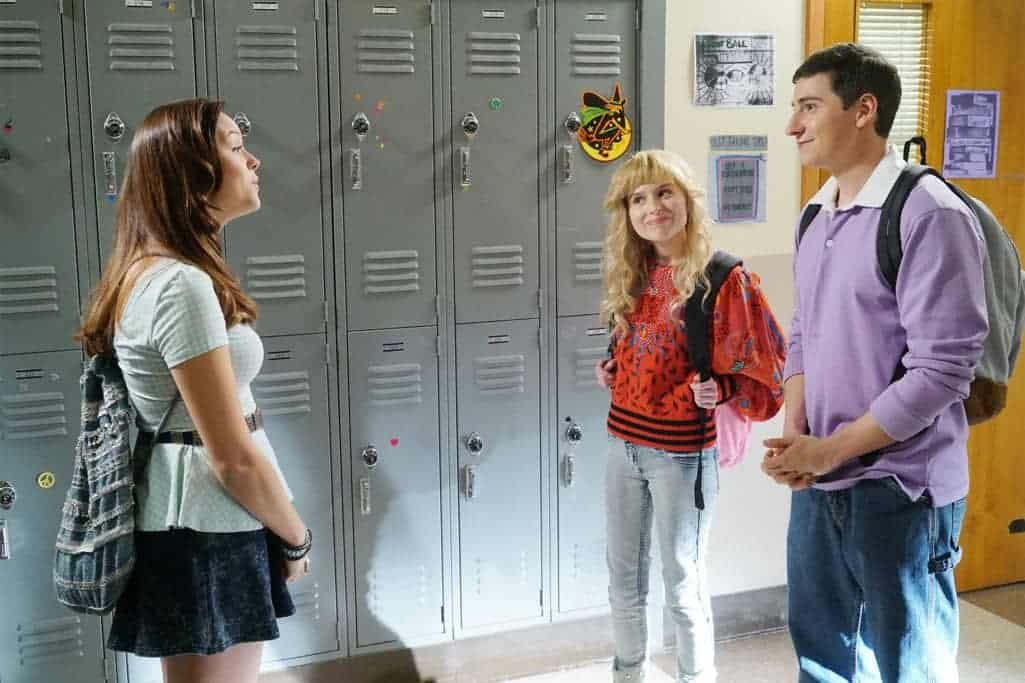 """THE GOLDBERGS - """"Stefan King"""" - Adam's love of Stephen King inspires him to try his hand at horror writing. After learning the monster in Adam's story is based off Beverly, she forces Adam to stay in on Halloween and rewrite it, hoping he depicts her as a better mother. Meanwhile, Erica is desperate to find a date to the costume dance and forces Barry go with her, on """"The Goldbergs,"""" WEDNESDAY, OCTOBER 26 (8:00-8:30 p.m. EDT), on the ABC Television Network. (ABC/Ron Tom) HAYLEY ORRANTIA, ALLIE GRANT, SAM LERNER"""