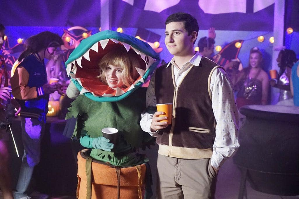"""THE GOLDBERGS - """"Stefan King"""" - Adam's love of Stephen King inspires him to try his hand at horror writing. After learning the monster in Adam's story is based off Beverly, she forces Adam to stay in on Halloween and rewrite it, hoping he depicts her as a better mother. Meanwhile, Erica is desperate to find a date to the costume dance and forces Barry go with her, on """"The Goldbergs,"""" WEDNESDAY, OCTOBER 26 (8:00-8:30 p.m. EDT), on the ABC Television Network. (ABC/Kelsey McNeal) ALLIE GRANT, SAM LERNER"""