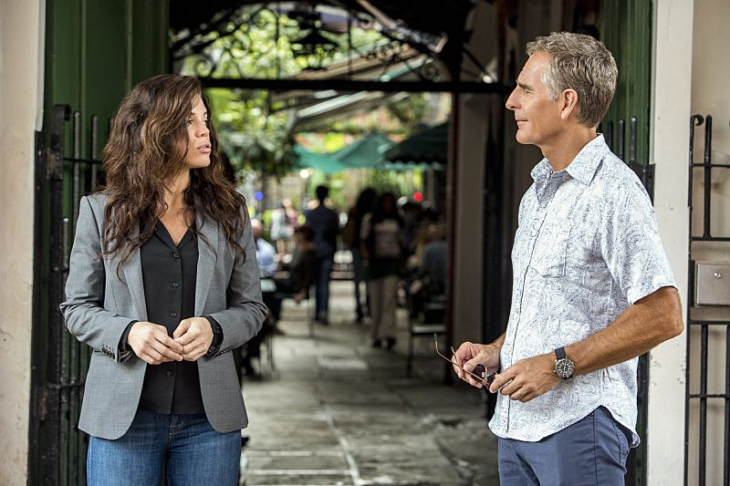 """""""Course Correction"""" -- NCIS and FBI investigate a private plane crash in the bayou that killed three sailors. Also, Sonja and Lasalle interview candidates for the team's open agent position, on NCIS: New Orleans, Tuesday, Oct. 25 (10:00-11:00, ET/PT), on the CBS Television Network. Pictured L-R: Vanessa Ferlito as FBI Special Agent Tammy Gregorio and Scott Bakula as Special Agent Dwayne Pride Photo: Skip Bolen/CBS ©2016 CBS Broadcasting, Inc. All Rights Reserved"""