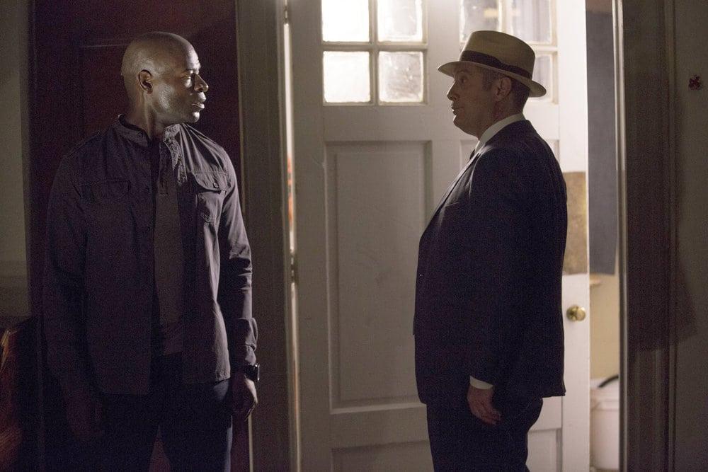 "THE BLACKLIST -- ""The Lindquist Concern #105"" Episode 405 -- Pictured: (l-r) Hisham Tawfiq as Dembe Zuma, James Spader as Raymond ""Red"" Reddington -- (Photo by: Eric Liebowitz/NBC)"