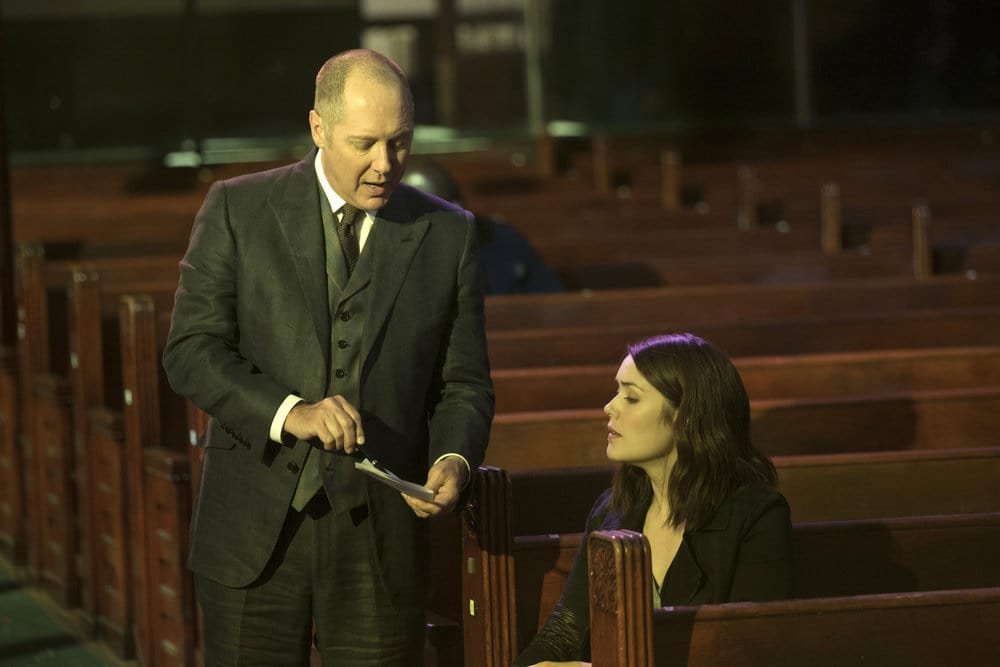 """THE BLACKLIST -- """"The Lindquist Concern #105"""" Episode 405 -- Pictured: (l-r) James Spader as Raymond """"Red"""" Reddington, Megan Boone as Elizabeth Keen -- (Photo by: Eric Liebowitz/NBC)"""