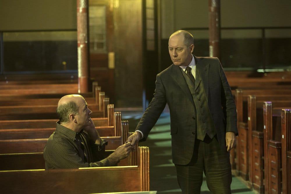 "THE BLACKLIST -- ""The Lindquist Concern #105"" Episode 405 -- Pictured: (l-r) Matt Servitto as Dr. Sebastian Reifler, James Spader as Raymond ""Red"" Reddington -- (Photo by: Eric Liebowitz/NBC)"