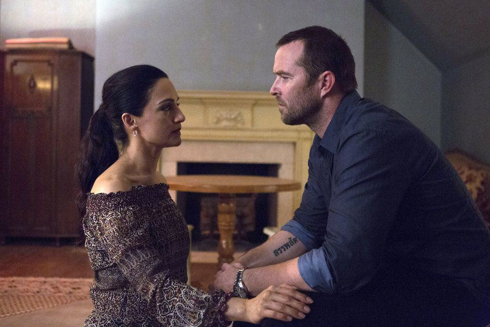 "BLINDSPOT-- ""Her Spy's Mind"" Episode 206 -- Pictured: (l-r) Archie Panjabi as Nas Kamal, Sullivan Stapleton as Kurt Weller -- (Photo by: Giovanni Ruffino/NBC)"