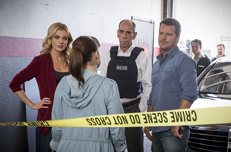 """Ghost Gun"" -- Pictured: Anna Kolcheck (Bar Paly) , Renée Felice Smith (Intelligence Analyst Nell Jones), Miguel Ferrer (NCIS Assistant Director Owen Granger) and Chris O'Donnell (Special Agent G. Callen).The murder of a Navy Machinist with high security clearance sends the team on a city-wide hunt tracking evidence. Also, Anna Kolcheck (Bar Paly) partners with Callen, and Sam assists Hetty in the on-going mole investigation, on NCIS: LOS ANGELES, Sunday, Oct. 23 (8:30-9:30 PM, ET/8:00-9:00 PM, PT), on the CBS Television Network. Photo: Erik Voake/CBS ©2016 CBS Broadcasting, Inc. All Rights Reserved."