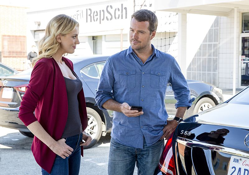 """Ghost Gun"" -- Pictured: Anna Kolcheck (Bar Paly) and Chris O'Donnell (Special Agent G. Callen). The murder of a Navy Machinist with high security clearance sends the team on a city-wide hunt tracking evidence. Also, Anna Kolcheck (Bar Paly) partners with Callen, and Sam assists Hetty in the on-going mole investigation, on NCIS: LOS ANGELES, Sunday, Oct. 23 (8:30-9:30 PM, ET/8:00-9:00 PM, PT), on the CBS Television Network. Photo: Erik Voake/CBS ©2016 CBS Broadcasting, Inc. All Rights Reserved."