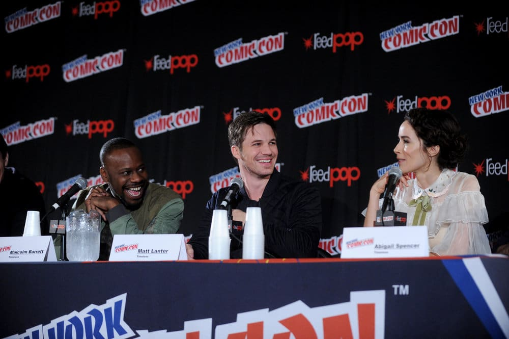 "NEW YORK COMIC CON 2016 -- ""Timeless"" Panel -- Pictured: (l-r) Malcolm Barrett, Matt Lanter, Abigail Spencer on Sunday, October 9, 2016 from the Javits Center in New York, NY -- (Photo by: Brad Barket/NBC)"