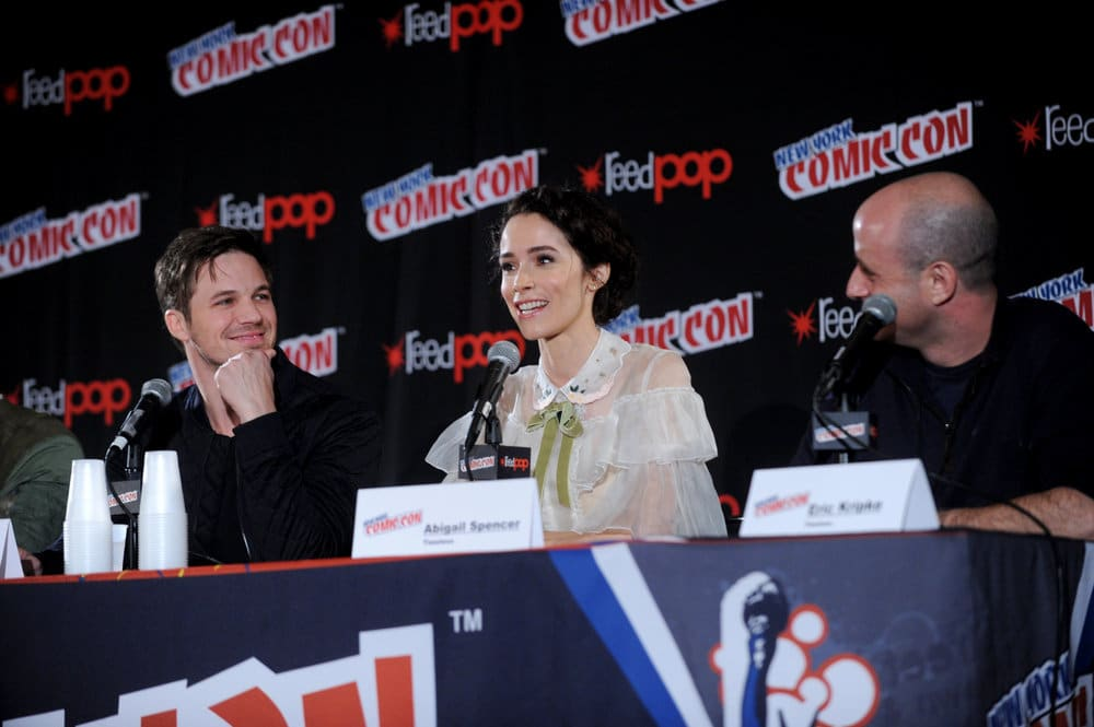 "NEW YORK COMIC CON 2016 -- ""Timeless"" Panel -- Pictured: (l-r) Matt Lanter, Abigail Spencer, Executive Producer Eric Kripke on Sunday, October 9, 2016 from the Javits Center in New York, NY -- (Photo by: Brad Barket/NBC)"