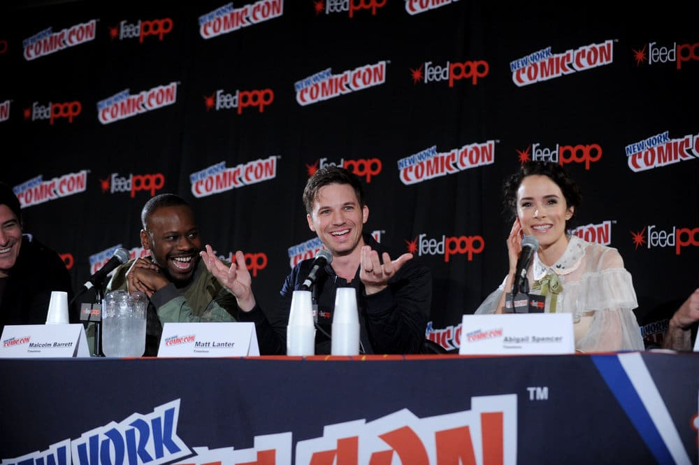 "NEW YORK COMIC CON 2016 -- ""Timeless"" Panel -- Pictured: (l-r) Goran Visnjic, Malcolm Barrett, Matt Lanter, Abigail Spencer on Sunday, October 9, 2016 from the Javits Center in New York, NY -- (Photo by: Brad Barket/NBC)"