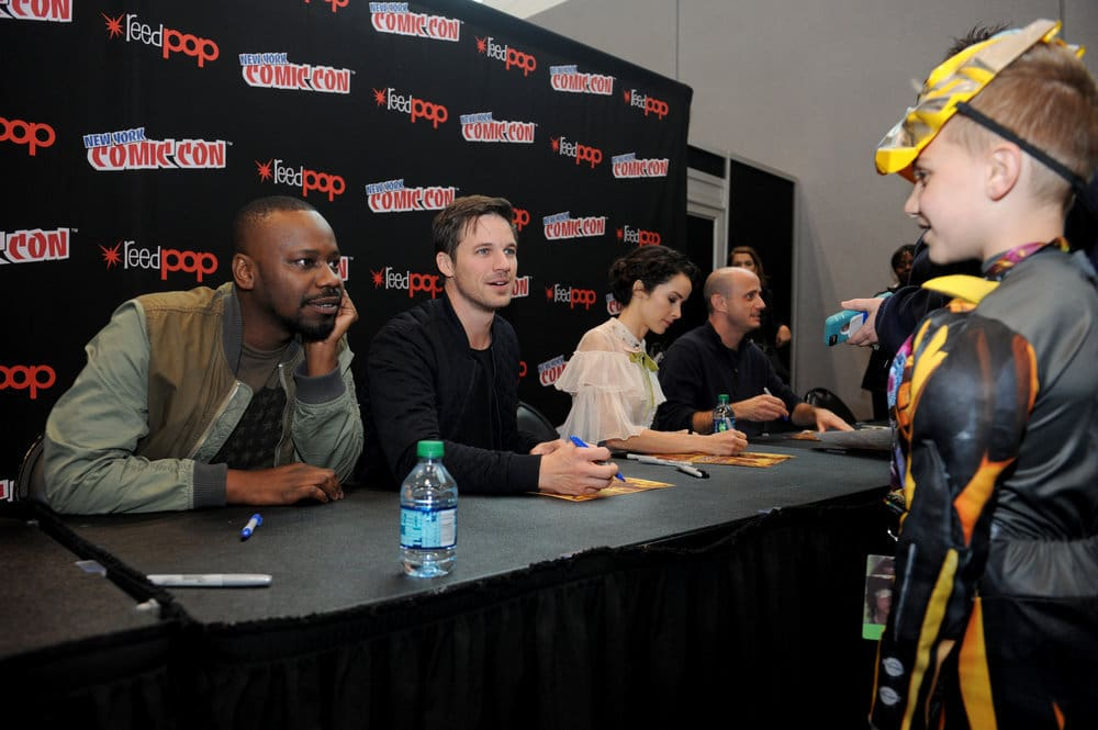"NEW YORK COMIC CON 2016 -- ""Timeless"" Autographs -- Pictured: (l-r) Malcolm Barrett, Matt Lanter, Abigail Spencer, Executive Producer Eric Kripke on Sunday, October 9, 2016 from the Javits Center in New York, NY -- (Photo by: Brad Barket/NBC)"