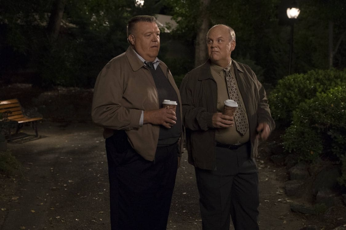 "BROOKLYN NINE-NINE: L-R: Joel McKinnon Miller and Dirk Blocker in the special ""The Night Shift"" crossover episode of BROOKLYN NINE-NINE airing Tuesday, Oct. 11 (8:00-8:31 PM ET/PT) on FOX. ©2016 Fox Broadcasting Co. Cr: John P Fleenor/FOX."