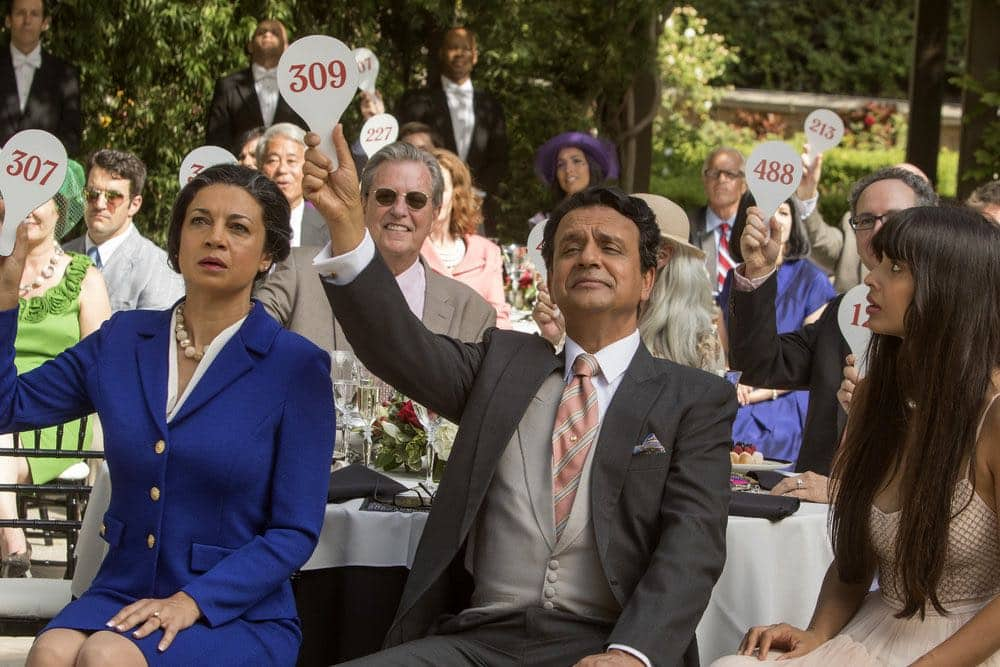 "THE GOOD PLACE -- ""Category 55 Emergency Doomsday Crisis"" Episode 109 -- Pictured: (l-r) Anna Khaja as Manisha, Ajay Mehta as Waqas, Jameela Jamil as Tahani Al-Jamil -- (Photo by: Ron Batzdorff/NBC)"