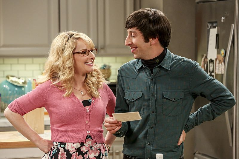 """The Cohabitation Experimentation"" -- Pictured: Bernadette (Melissa Rauch) and Howard Wolowitz (Simon Helberg). When Amy's apartment floods, she proposes a ""cohabitation experiment"" with Sheldon. Also, Howard and Bernadette are upset when Koothrappali learns the gender of the baby before them, on THE BIG BANG THEORY, Monday, Oct. 10 (8:00-8:31 PM, ET/PT), on the CBS Television Network. Photo: Michael Yarish/Warner Bros. Entertainment Inc. © 2016 WBEI. All rights reserved."