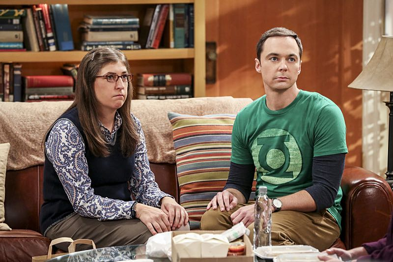 """The Cohabitation Experimentation"" -- Pictured: When Amy's apartment floods, she proposes a ""cohabitation experiment"" with Sheldon. Also, Howard and Bernadette are upset when Koothrappali learns the gender of the baby before them, on THE BIG BANG THEORY, Monday, Oct. 10 (8:00-8:31 PM, ET/PT), on the CBS Television Network. Photo: Michael Yarish/Warner Bros. Entertainment Inc. © 2016 WBEI. All rights reserved."