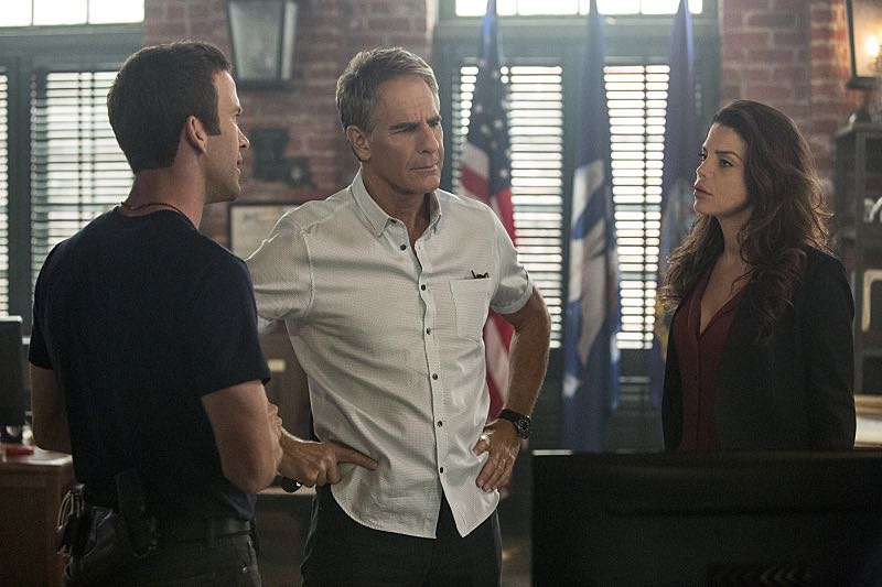 """Escape Plan"" -- The NCIS team must rescue one of their own after Sebastian is kidnapped while at a restaurant with his mother, Sylvia Lund, and forced to use his gaming skills in a prison break, on NCIS: New Orleans, Tuesday, Oct. 18 (10:00-11:00, ET/PT), on the CBS Television Network. Pictured L-R: Lucas Black as Special Agent Christopher LaSalle, Scott Bakula as Special Agent Dwayne Pride, and Vanessa Ferlito as FBI Special Agent Tammy Gregorio Photo: Skip Bolen/CBS ©2016 CBS Broadcasting, Inc. All Rights Reserved"
