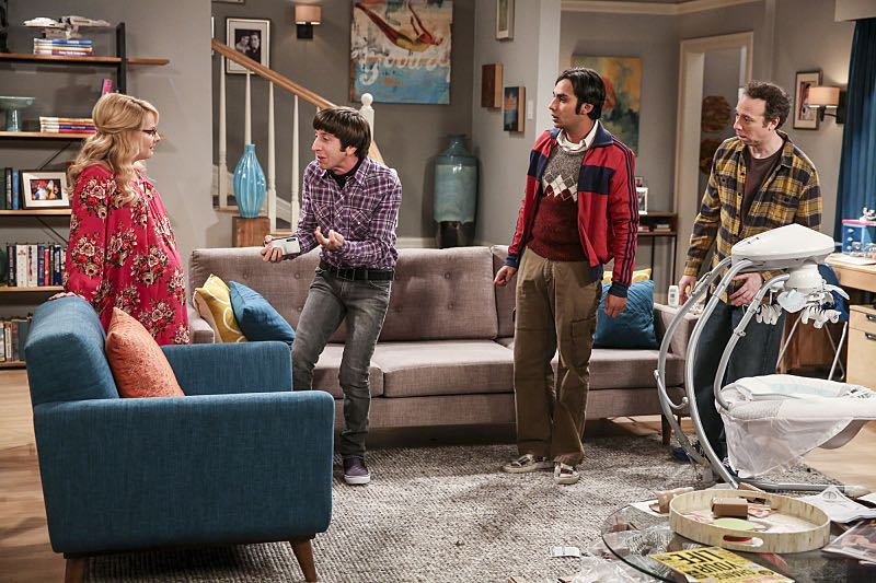 """""""The Property Division Collision"""" -- Pictured: Bernadette (Melissa Rauch), Howard Wolowitz (Simon Helberg), Rajesh Koothrappali (Kunal Nayyar) and Stuart (Kevin Sussman).Sheldon and Leonard try to divvy up their shared belongings, but can't agree on anything. Also, Koothrappali and Stuart fight to be the most helpful during Bernadette's final weeks of pregnancy, on THE BIG BANG THEORY, Thursday, Dec. 1 (8:00-8:31 PM, ET/PT), on the CBS Television Network. Christopher Lloyd guest stars as Theodore. Photo: Michael Yarish/Warner Bros. Entertainment Inc. © 2016 WBEI. All rights reserved."""