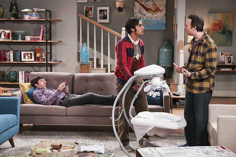 """""""The Property Division Collision"""" -- Pictured: Howard Wolowitz (Simon Helberg), Rajesh Koothrappali (Kunal Nayyar) and Stuart (Kevin Sussman).Sheldon and Leonard try to divvy up their shared belongings, but can't agree on anything. Also, Koothrappali and Stuart fight to be the most helpful during Bernadette's final weeks of pregnancy, on THE BIG BANG THEORY, Thursday, Dec. 1 (8:00-8:31 PM, ET/PT), on the CBS Television Network. Christopher Lloyd guest stars as Theodore. Photo: Michael Yarish/Warner Bros. Entertainment Inc. © 2016 WBEI. All rights reserved."""