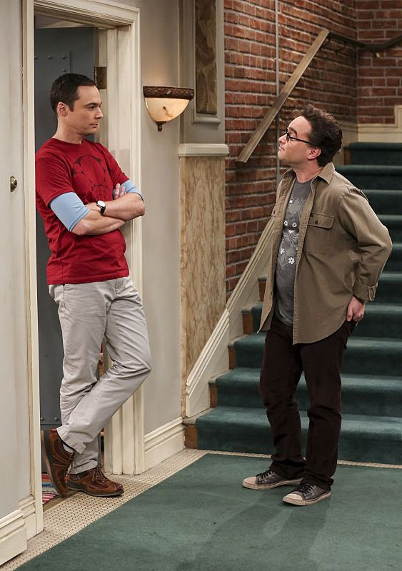 """""""The Property Division Collision"""" -- Pictured: Sheldon Cooper (Jim Parsons) and Leonard Hofstadter (Johnny Galecki). Sheldon and Leonard try to divvy up their shared belongings, but can't agree on anything. Also, Koothrappali and Stuart fight to be the most helpful during Bernadette's final weeks of pregnancy, on THE BIG BANG THEORY, Thursday, Dec. 1 (8:00-8:31 PM, ET/PT), on the CBS Television Network. Christopher Lloyd guest stars as Theodore. Photo: Michael Yarish/Warner Bros. Entertainment Inc. © 2016 WBEI. All rights reserved."""