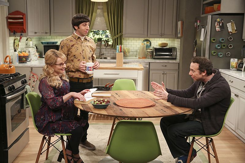 """""""The Property Division Collision"""" -- Pictured: Bernadette (Melissa Rauch), Howard Wolowitz (Simon Helberg) and Stuart (Kevin Sussman).Sheldon and Leonard try to divvy up their shared belongings, but can't agree on anything. Also, Koothrappali and Stuart fight to be the most helpful during Bernadette's final weeks of pregnancy, on THE BIG BANG THEORY, Thursday, Dec. 1 (8:00-8:31 PM, ET/PT), on the CBS Television Network. Christopher Lloyd guest stars as Theodore. Photo: Michael Yarish/Warner Bros. Entertainment Inc. © 2016 WBEI. All rights reserved."""