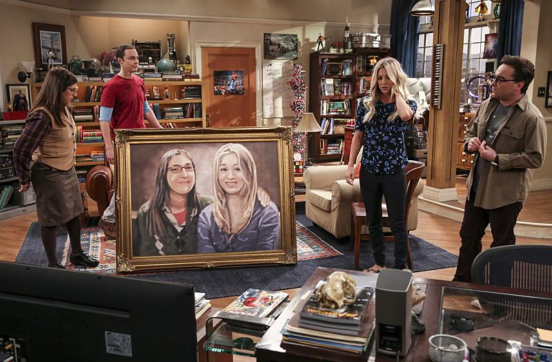 """""""The Property Division Collision"""" -- Pictured: Amy Farrah Fowler (Mayim Bialik), Sheldon Cooper (Jim Parsons), Penny (Kaley Cuoco) and Leonard Hofstadter (Johnny Galecki). Sheldon and Leonard try to divvy up their shared belongings, but can't agree on anything. Also, Koothrappali and Stuart fight to be the most helpful during Bernadette's final weeks of pregnancy, on THE BIG BANG THEORY, Thursday, Dec. 1 (8:00-8:31 PM, ET/PT), on the CBS Television Network. Christopher Lloyd guest stars as Theodore. Photo: Michael Yarish/Warner Bros. Entertainment Inc. © 2016 WBEI. All rights reserved."""