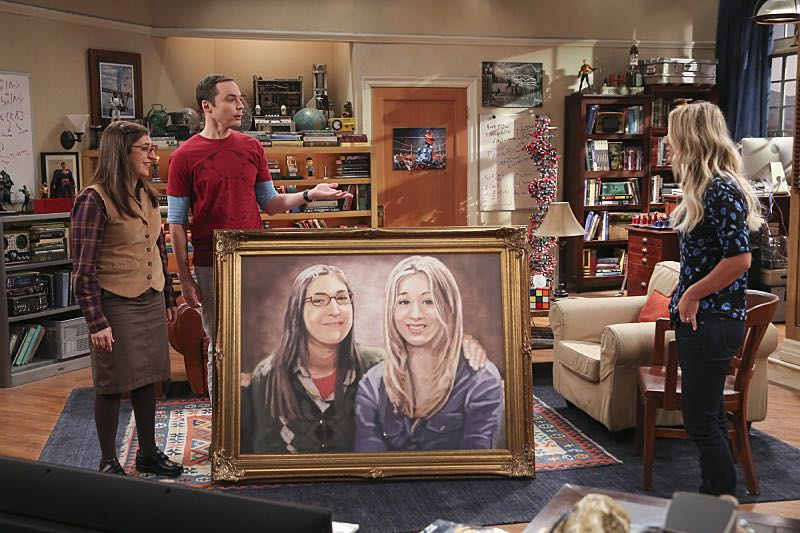 """""""The Property Division Collision"""" -- Pictured: Amy Farrah Fowler (Mayim Bialik), Sheldon Cooper (Jim Parsons) and Penny (Kaley Cuoco). Sheldon and Leonard try to divvy up their shared belongings, but can't agree on anything. Also, Koothrappali and Stuart fight to be the most helpful during Bernadette's final weeks of pregnancy, on THE BIG BANG THEORY, Thursday, Dec. 1 (8:00-8:31 PM, ET/PT), on the CBS Television Network. Christopher Lloyd guest stars as Theodore. Photo: Michael Yarish/Warner Bros. Entertainment Inc. © 2016 WBEI. All rights reserved."""