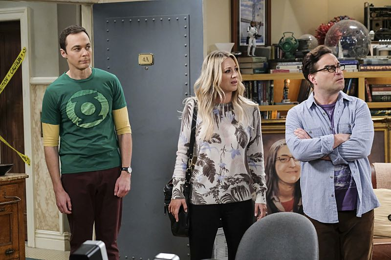 """""""The Property Division Collision"""" -- Pictured: Sheldon Cooper (Jim Parsons), Penny (Kaley Cuoco) and Leonard Hofstadter (Johnny Galecki). Sheldon and Leonard try to divvy up their shared belongings, but can't agree on anything. Also, Koothrappali and Stuart fight to be the most helpful during Bernadette's final weeks of pregnancy, on THE BIG BANG THEORY, Thursday, Dec. 1 (8:00-8:31 PM, ET/PT), on the CBS Television Network. Christopher Lloyd guest stars as Theodore. Photo: Darren Michaels/Warner Bros. Entertainment Inc. © 2016 WBEI. All rights reserved."""