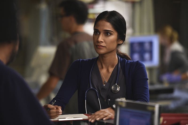 """""""Hero Complex"""" -- Malaya must inform a college student who regains consciousness at Angels Memorial that she's the victim of a rape, and Willis and Campbell butt heads over a terminally ill woman who wants to end her life on her own terms, on CODE BLACK, Wednesday, Nov. 9 (10:00-11:00 PM, ET/PT), on the CBS Television Network. Annabeth Gish guest stars as Geraldine, the mother of the terminally ill girl; Richard Lewis guest stars as Stewart, a stand-up comedian who collapsed while on stage, and Stephen Culp returns as Desmond Leighton, Angus and Mike's father. Pictured: Melanie Chandra (Dr. Malaya Pineda) Photo: Ron P. Jaffe/CBS ©2016 CBS Broadcasting, Inc. All Rights Reserved"""