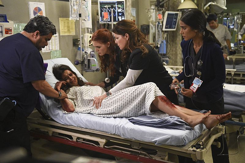 """""""Hero Complex"""" -- Malaya must inform a college student who regains consciousness at Angels Memorial that she's the victim of a rape, and Willis and Campbell butt heads over a terminally ill woman who wants to end her life on her own terms, on CODE BLACK, Wednesday, Nov. 9 (10:00-11:00 PM, ET/PT), on the CBS Television Network. Annabeth Gish guest stars as Geraldine, the mother of the terminally ill girl; Richard Lewis guest stars as Stewart, a stand-up comedian who collapsed while on stage, and Stephen Culp returns as Desmond Leighton, Angus and Mike's father. Pictured: Luis Guzmán (Jesse Sallander), True O'Brien (Joy Samton), Emily Tyra (Dr. Noa Kean), Marcia Gay Harden (Dr. Leanne Rorish), Melanie Chandra (Dr. Malaya Pineda) Photo: Ron P. Jaffe/CBS ©2016 CBS Broadcasting, Inc. All Rights Reserved"""