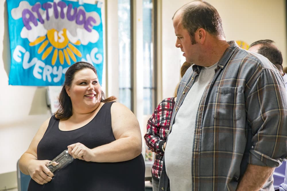 "THIS IS US -- ""The Best Washing Machine in the Whole World "" Episode 107 -- Pictured: (l-r) Chrissy Metz as Kate, Chris Sullivan as Toby -- (Photo by: Ron Batzdorff/NBC)"
