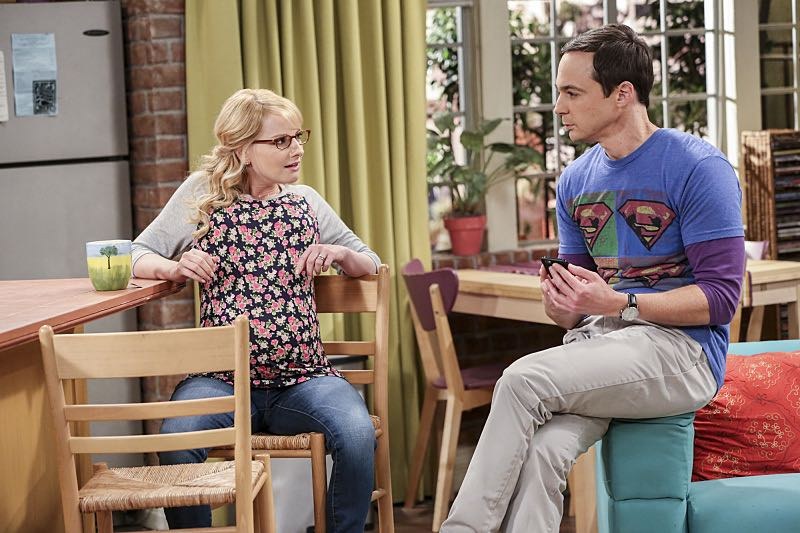 """""""The Brain Bowl Incubation"""" -- Pictured: Bernadette (Melissa Rauch) and Sheldon Cooper (Jim Parsons). After a successful experiment combining their genes, Sheldon will stop at nothing to convince Amy they should procreate. Also, Koothrappali is embarrassed to tell the gang what the new woman he's dating does for a living, on THE BIG BANG THEORY, Thursday, Nov. 10 (8:00-8:31 PM, ET/PT), on the CBS Television Network. Photo: Michael Yarish/Warner Bros. Entertainment Inc. © 2016 WBEI. All rights reserved."""