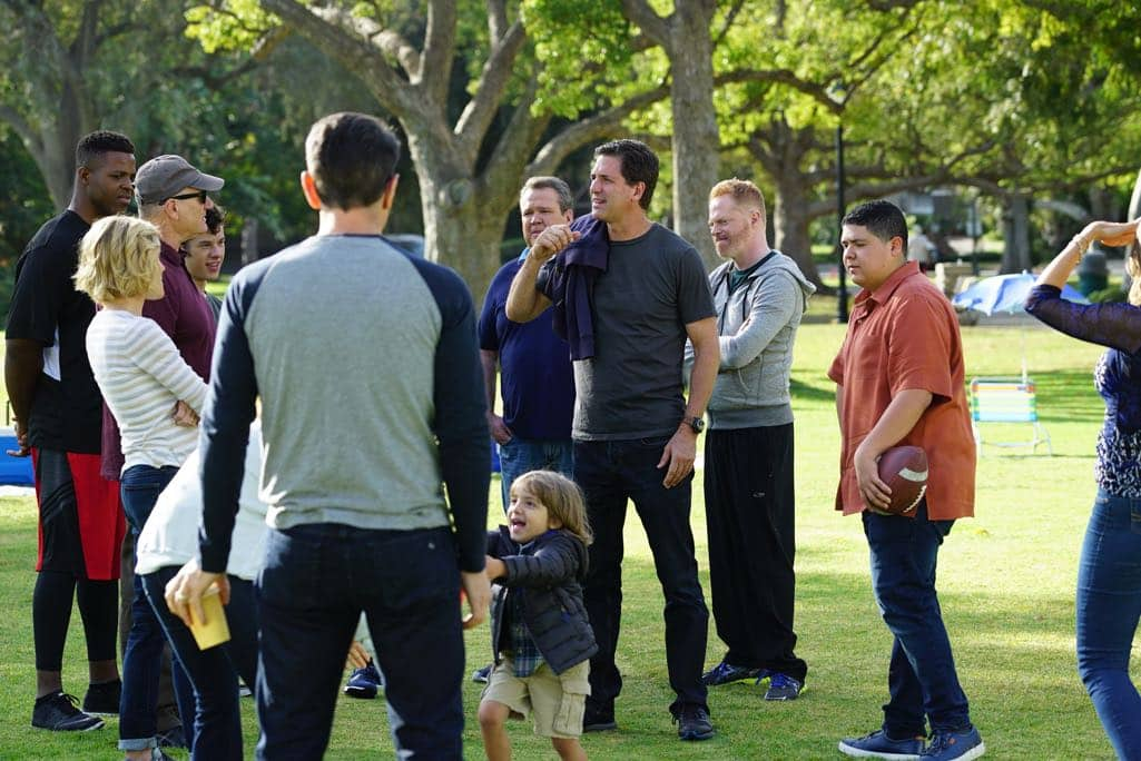 "MODERN FAMILY - ""Thanksgiving Jamboree"" - It's going to be a Thanksgiving jamboree at the Pritchett-Tucker home this year, and Cameron has spared no expense. While Phil tries to get used to Rainer Shine (Nathan Fillion) dating his daughter, Hayley has to break it to her dad that she would rather spend the rest of her holiday with her new boyfriend than staying for the traditional family football game. Meanwhile, Jay has to figure out a way to keep his blood pressure down on one of the most stressful days of the year, as Gloria tries to show Joe that animals are our friends. Finally, Alex and Dwight get to know each other a little better than her Uncle Cam would like, while Mitchell has to stop clowning around and tell Cam the truth, on ABC's ""Modern Family,"" airing on WEDNESDAY, NOVEMBER 16 (9:00-9:31 p.m. EDT). (ABC/Richard Cartwright) WINSTON DUKE, JULIE BOWEN, ED O'NEILL, NOLAN GOULD, JEREMY MAGUIRE, ERIC STONESTREET, STEVEN LEVITAN (DIRECTOR/EXECUTIVE PRODUCER), JESSE TYLER FERGUSON, RICO RODRIGUEZ"