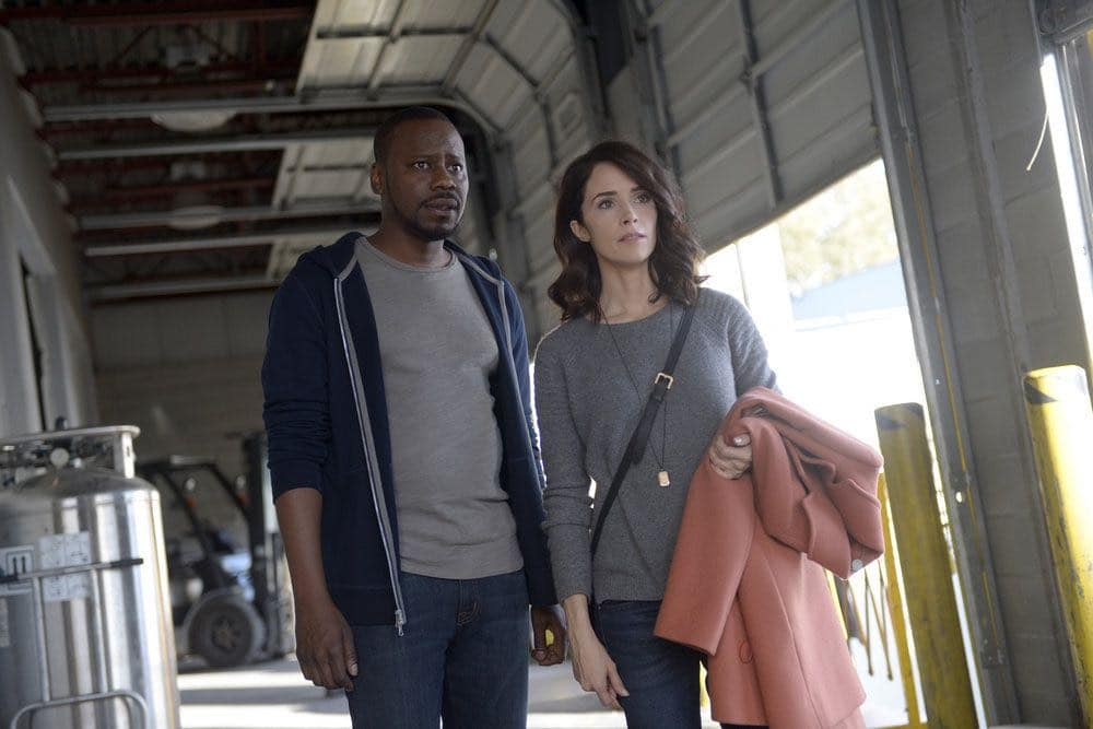 """TIMELESS -- """"The Watergate Tape"""" Episode 105 -- Pictured: (l-r) Malcolm Barrett as Rufus Carlin, Abigail Spencer as Lucy Preston -- (Photo by: Sergei Bachlakov/NBC)"""