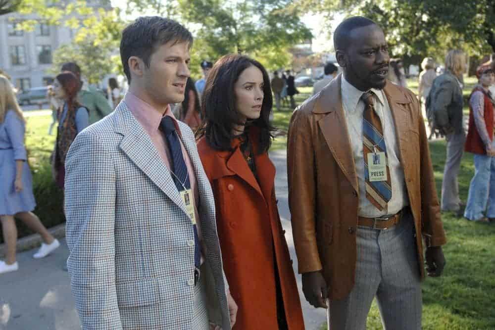 "TIMELESS -- ""The Watergate Tape"" Episode 105 -- Pictured: (l-r) Matt Lanter as Wyatt Logan, Abigail Spencer as Lucy Preston, Malcolm Barrett as Rufus Carlin -- (Photo by: Sergei Bachlakov/NBC)"