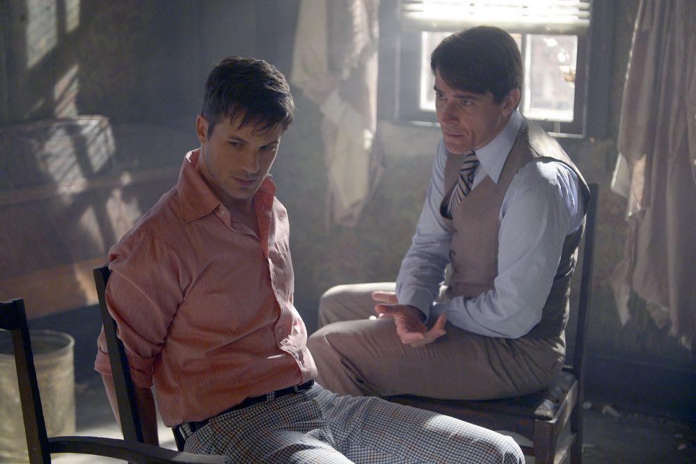 "TIMELESS -- ""The Watergate Tape"" Episode 105 -- Pictured: (l-r) Matt Lanter as Wyatt Logan, Goran Visnjic as Garica Flynn -- (Photo by: Sergei Bachlakov/NBC)"