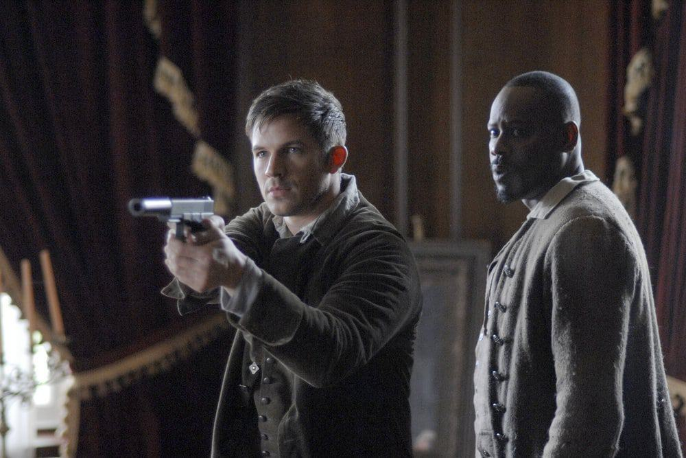 "TIMELESS -- ""The Capture of Benedict Arnold"" Episode 109 -- Pictured: (l-r) Matt Lanter as Wyatt Logan, Malcolm Barrett as Rufus Carlins -- (Photo by: Sergei Bachlakov/NBC)"
