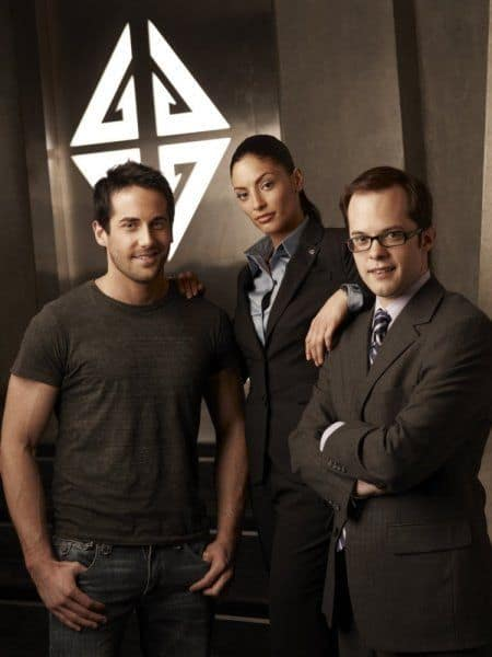Eureka Niall Matter as Zane Donovan, Erica Cerra as Jo Lupo, Neil Grayston as Douglas Fargo